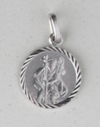 Sterling Silver Round Medal: St Christopher (ME1055)