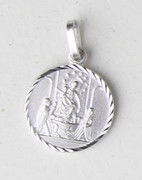 Sterling Silver Round Medal: Our Lady of Pompei (ME10PO)