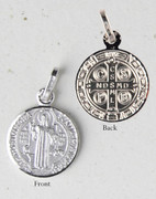 Sterling Silver Round Medal: St Benedict (ME1070)