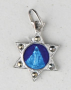 Sterling Silver/Blue Enamel Medal:  Miraculous Star (ME632)