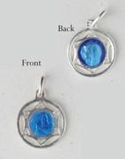Sterling Silver/Blue Enamel Medal: Round Star Lourdes/Madonna (ME614)