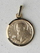 9kt Gold Pendants: Padre Pio 13mm (ME948)