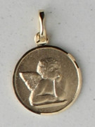 9kt Gold Pendant: Angel Cherub 13mm (ME910A)