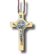 St Benedict Crucifix: 8cm Light Wood Cord (CR7SBW)