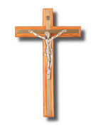 Wall Crucifix, Olive Wood Thin Metal Inlay 17cm (CROPF17)