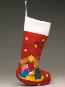 Fabric Christmas Stocking with Nativity Scene(CX8356)