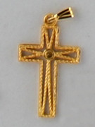 Cross Pendant: Gilt Rope Look 2.5cm (CR8325G)