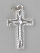 Cross Pendant: Silver Rope Look 2.5cm (CR8325S)