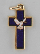 Cross Pendant: Holy Spirit Blue Glass 3.5cm (CRN1B)