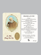Laminated Prayer Card: St Pio (pkt12)