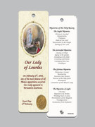Laminated Bookmark: Our Lady Lourdes/Mysteries