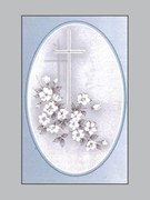 Memorial Cards: Cross with Flowers
