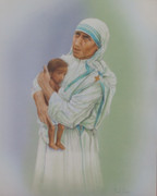 Wood Framed Print: Mother Teresa with Child