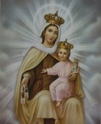 Gold Framed Print:  Our Lady of Mt Carmel