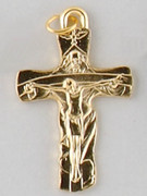Small Crucifix: Gold Trinity 40mm (CRTRG)