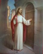 Gold Framed Print: Jesus Knocking