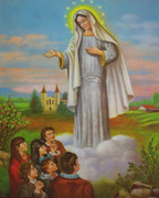 Gold Framed Print: Our Lady of Medjugorje and Children