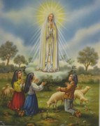 Wood Framed Print: Our Lady of Fatima and Children