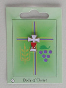 Communion Pin: White Cross Red Chalice (LP51174)