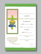 Communion Certificate: Loaves/Fish/Cross Green(CEC031)