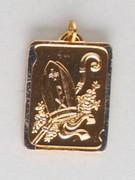 Confirmation Medal: Gilt Metal Square Bishop Hat (MEF459)