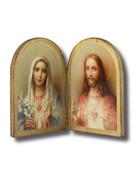 Quality Wood Bi-Fold Plaque: Sacred Hearts (PL4202)