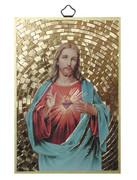 Gold Foil Wood Plaque: Sacred Heart of Jesus (PL1701)