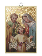 Gold Foil Wood Plaque: Holy Family (PL1704)