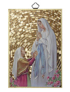 Gold Foil Wood Plaque: Our Lady of Lourdes (PL1708)