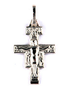 Sterling Silver Pendants: 18mm San Damiano Crucifix (CR085)