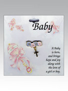 "Baby Lapel Pin: ""BABY"" & Cross"