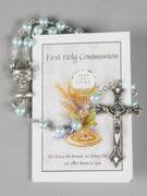 Communion Rosary & Leaflet: Blue 5mm bead (RX726B)