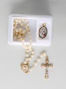 Communion Rosary Set with Symbol Medal: White Bead (RX035CW)