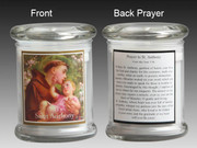 Glass Candle Holder LED battery: St Anthony