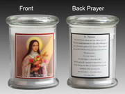 Glass Candle Holder LED battery: St Theresa