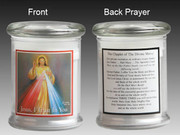 Glass Candle Holder LED battery: Divine Mercy