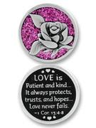Glitter Coin: Rose/Love is...1COR (PT662)