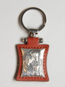 Key Ring: Sterling Silver/Leather: Holy Family
