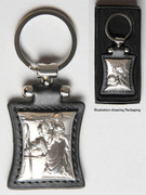Key Ring: Sterling Silver/Leather: St Christopher