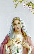 TJP Holy Card: Sacred Heart Mary: Serviceman #1