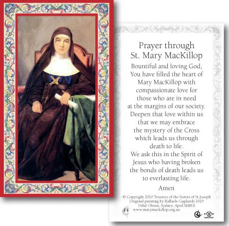 1da4a05e13f Laminated Holy Card: 700 SERIES: St Mary MacKillop. Image 1. Loading zoom