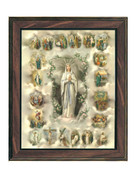 WOOD FRAME 10x8- LOURDES with MYSTERIES
