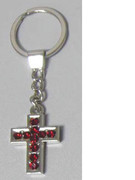 Keyring: Diamente Cross: RED