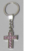 Keyring: Diamente Cross: Light PINK