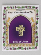 Communion Pin: Antique Gold Cross (PN00001)