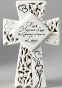 LED Cross Faith, Hope and Love 15.5cm