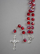 Glass Rosary: 10mm Bead Red (AB) (RXIR10R)