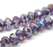 Crystal Glass Beads 8mm Rondelle Dark Purple AB x 70