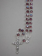 Glass Rosary: 8mm Bead Amethyst (AB) (RX908A)