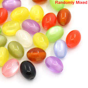 Rosary Making Beads: Acrylic: Cats Eye Oval 8x6mm Mixed Colours (500)